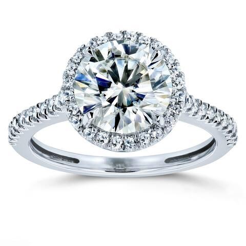 Annello by Kobelli 14k Gold 2 1/6ct TGW Moissanite and Diamond Round Brilliant Halo Engagement Ring (HI/VS, GH/I)
