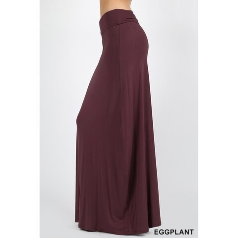 JED Women's Fold-Over Waist Solid Casual Maxi Skirt