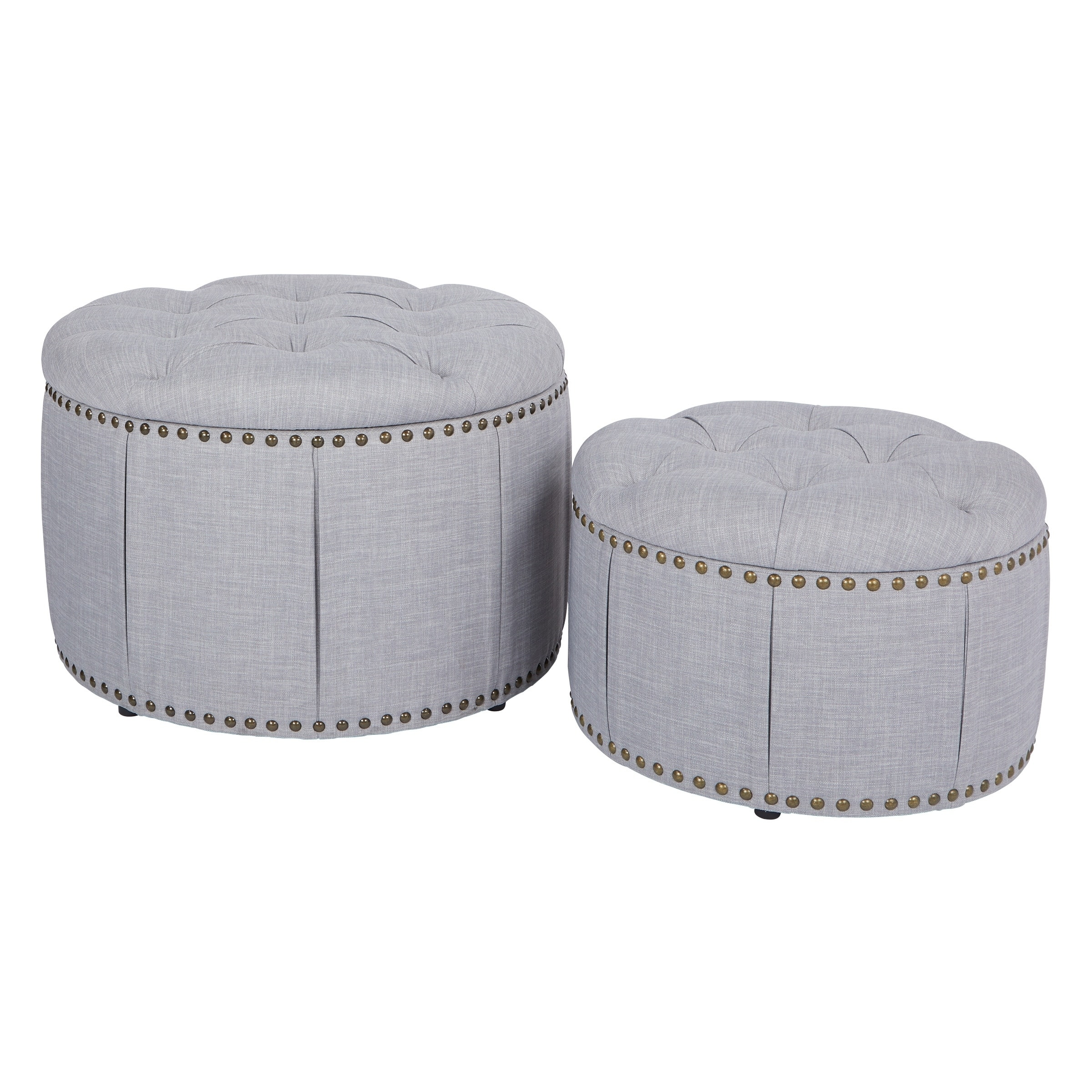 Fantastic Osp Home Furnishings Elsie Skirted Storage Ottoman Set With Antique Bronze Nailheads Theyellowbook Wood Chair Design Ideas Theyellowbookinfo