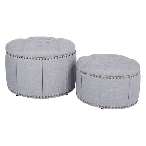 OSP Home Furnishings Elsie Skirted Storage Ottoman Set with Antique Bronze Nailheads