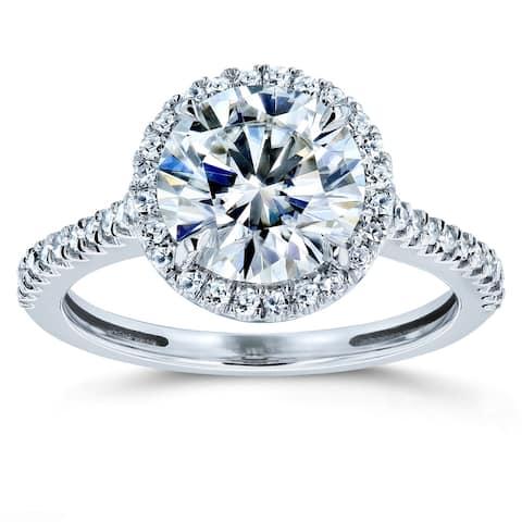 Annello by Kobelli 14k Gold 2 1/6ct TGW Moissanite and Diamond Round Brilliant Halo Engagement Ring (FG/VS, GH/I)