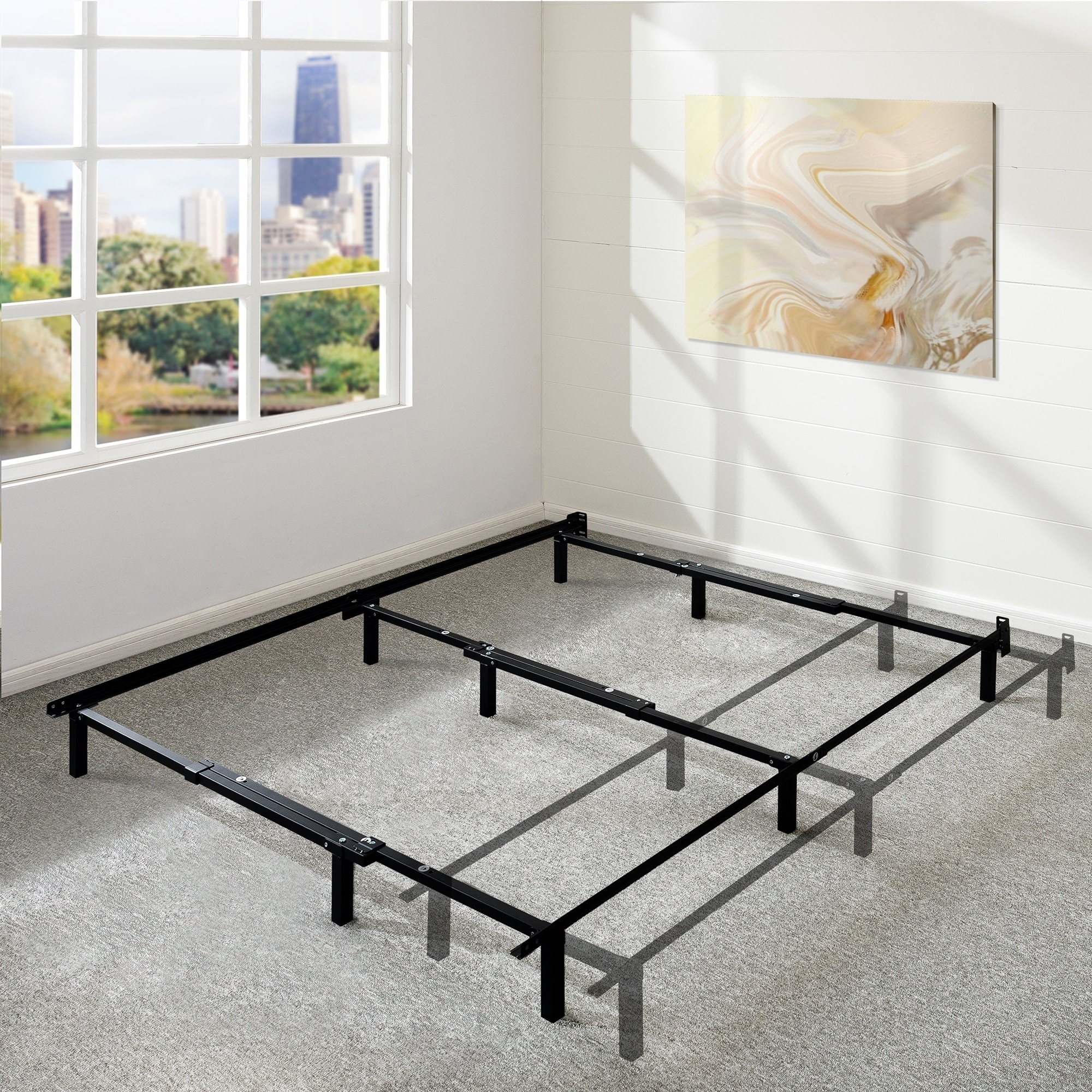 Picture of: Shop Adjustable 7 Inch Metal Platform Bed Frame Compatible With Full Queen And King Size Crown Comfort Overstock 21474547
