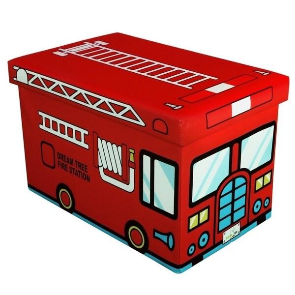 16 Inch Toy Storage Chest Organizer, Fire Truck - Crown Comfort