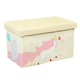 20 Inch Toy Storage Chest Organizer, Unicorn and Hippo - Crown Comfort