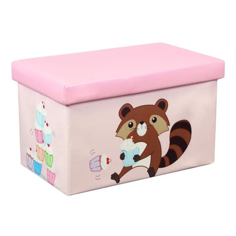 20 Inch Toy Storage Chest Organizer, Raccoon and Cupcake - Crown Comfort