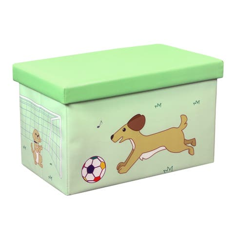 23 Inch Toy Storage Chest Organizer, Dog and Ball - Crown Comfort