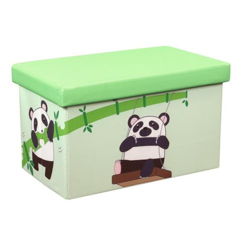 20 Inch Toy Storage Chest Organizer, Panda and Bamboo - Crown Comfort