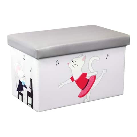 23 inch Toy Storage Chest Organizer, Cat and Mouse - Crown Comfort
