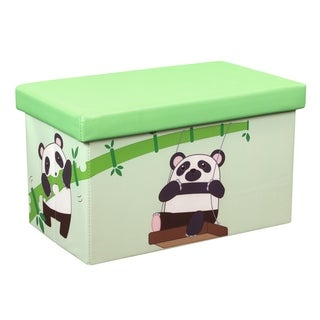 23 Inch Toy Storage Chest Organizer, Panda and Bamboo - Crown Comfort