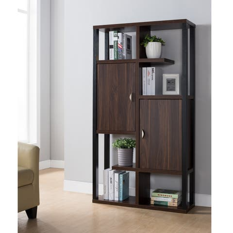 Baldwin Contemporary Dark Walnut Cabinet Bookcase by FOA