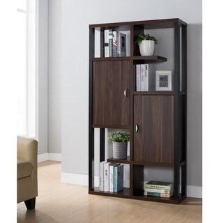 Furniture of America Baldwin Contemporary Dark Walnut Cabinet Bookcase