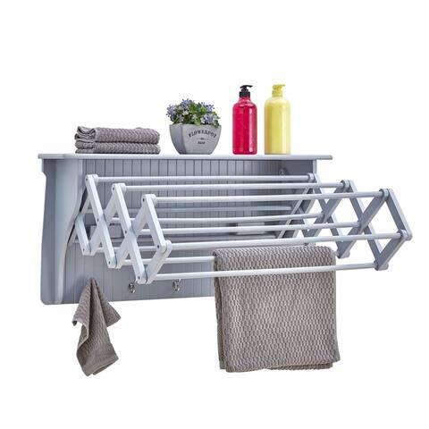 Danya B. Wall Mounted Retractable Accordion Drying Rack - Light Gray