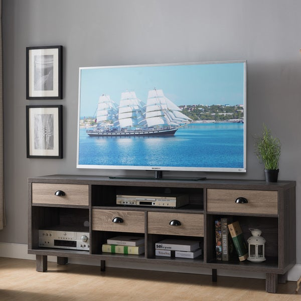 Shop Furniture Of America Langley Contemporary 70 Inch Weathered
