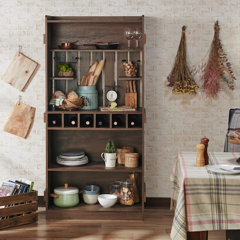 Furniture of America Ivan Rustic Walnut 4-shelf Baker's Rack