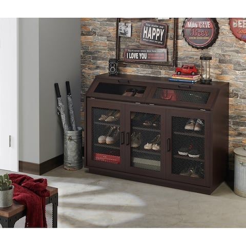 Geno Traditional Walnut Shoe Cabinet by FOA
