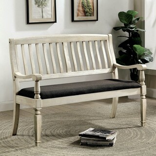 Furniture of America Tyler Rustic Farmhouse Loveseat Bench