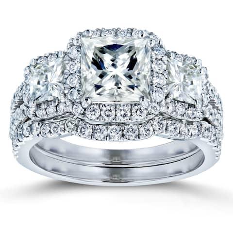 Annello by Kobelli 14k Gold 3 1/10ct TGW Princess Moissanite and Diamond Halo 3-Stone Bridal Rings (HI/VS, GH/I)