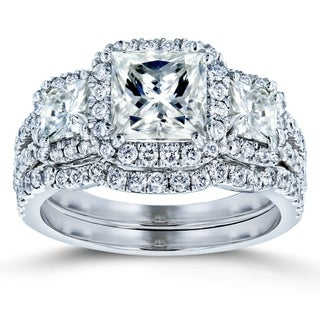 Annello by Kobelli 14k Gold 3 1/10ct TGW Princess Moissanite and Diamond Halo 3-Stone Bridal Rings (HI/VS, GH/I)