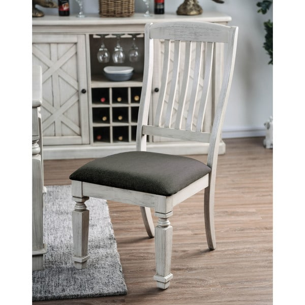 Shop Tyler Rustic Antique White Dining Chair Set Of 2 By Foa On
