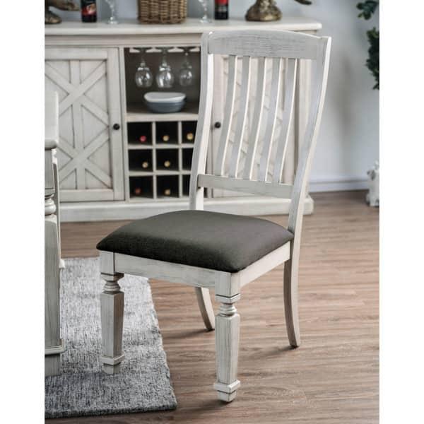 Shop Furniture of America Hish Rustic White Fabric Dining ...