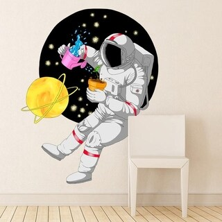 """Astronaut Space Planet Full Color Wall Decal Sticker K-1228 FRST Size 22""""x27"""""""