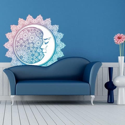 "Mandala Moon Meditation Full Color Wall Decal Sticker K-1235 FRST Size 52""x52"""