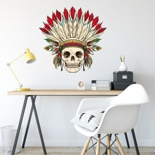 "Skull Tribe Haloween Full Color Wall Decal Sticker K-1234 FRST Size 46""x56"""