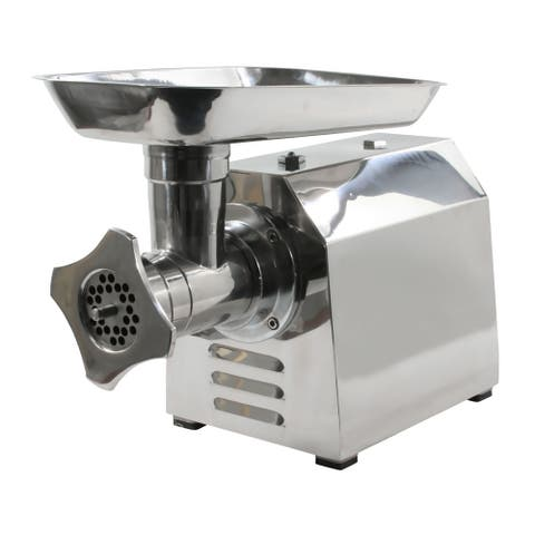 Offex 1HP Industrial Stainless Steel Electric Meat Grinder - Silver