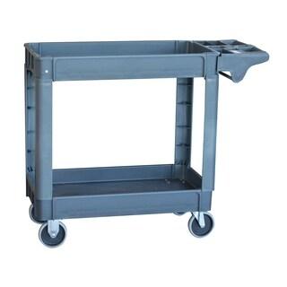 Offex Plastic Heavy Duty Utility Cart with 2 Shelf - Gray