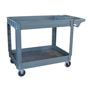 Offex Heavy Duty 2 Shelves Rolling Utility Cart - Gray