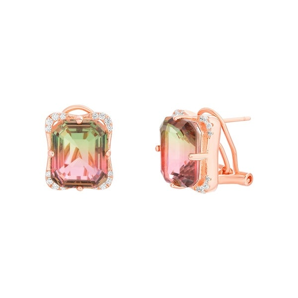Lesa Michele Simulated Watermelon Tourmaline Emerald Cut Cubic Zirconia Earring In 14k Rose Gold Over Sterling