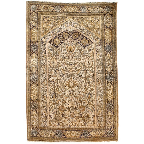 """Pasargad DC Persian Qum Pure Silk Hand Knotted Area Rug - 3'6"""" X 5'4"""""""
