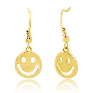 Bliss Smiley Face Emoji Disc Dangle Hook Earring