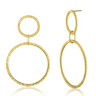 Bliss Open Hammered Circle Link Dangle Drop Earring In Gold