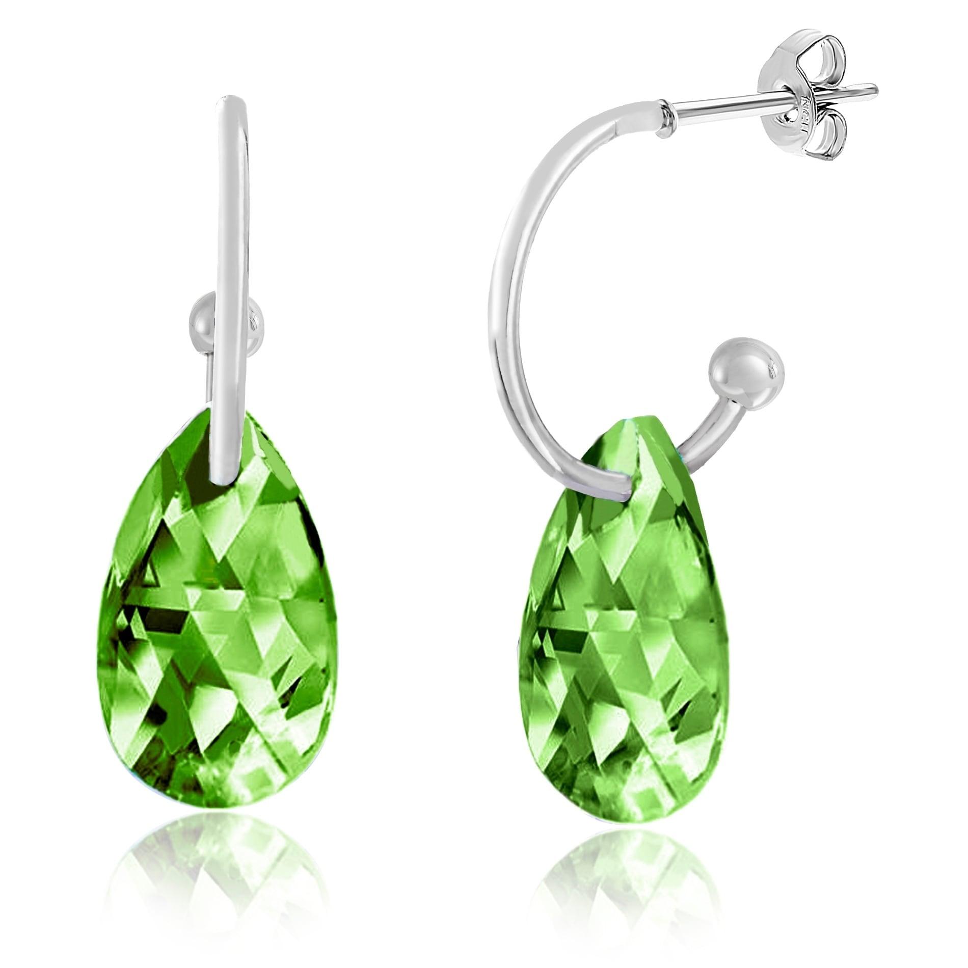 Sterling Silver Peridot Green Pear Teardrop Crystal Earrings Swarovski Elements
