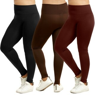 Sofra Ladies High Waist Extra-Wide Band Leggings Plus Size (5 options available)