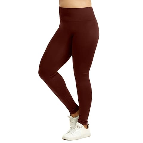 Sofra Ladies High Waist Extra-Wide Band Leggings Plus Size