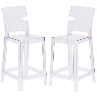 Modern Squere Back Design Transparent Crystal Counter Height Ghost Stool