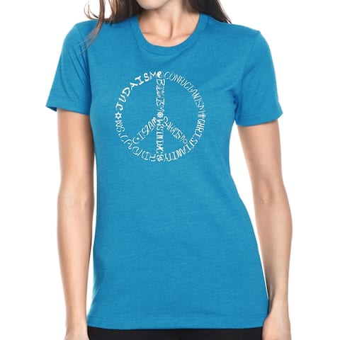 LA Pop Art Women's Premium Blend Word Art T-shirt - Different Faiths peace sign