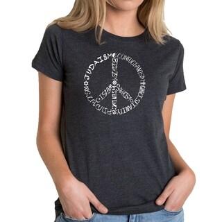 LA Pop Art Women's Premium Blend Word Art T-shirt - Different Faiths peace sign (More options available)