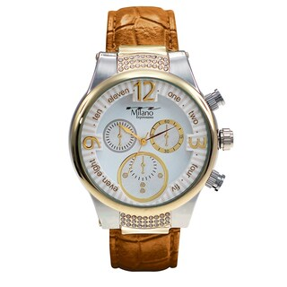 M Milano Expressions Leather Strap Watch 44011