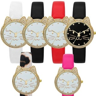 Cat Watch with Leather Strap 43652