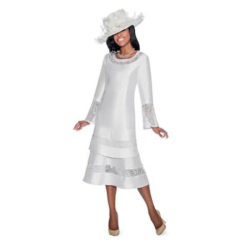 dec5ad5cb4a07 Giovanna Signature Women s Lace Trimmed 2-Layer Sweep White Dress