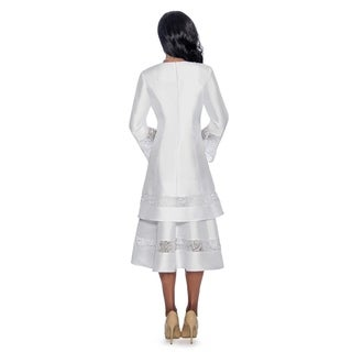 Giovanna Signature Women's Lace Trimmed 2-Layer Sweep White Dress