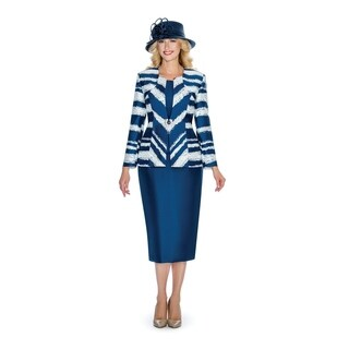 Giovanna Collection Women's Virtual Silk Irregular Striped 3-piece Skirt Suit (5 options available)