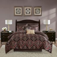 Madison Park Thane Red 8 Piece Chenille Jacquard Comforter Set
