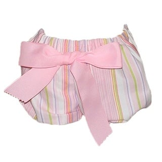 Big Bow Diaper Cover, Pink Stripe with 2 Bows