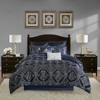 Madison Park Thane Blue 8 Piece Chenille Jacquard Comforter Set