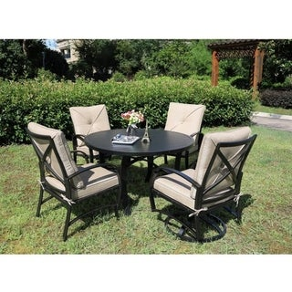 Brazos 5 Piece Aluminum Dining Set with Cushions, 48 Inch Round Dining Table