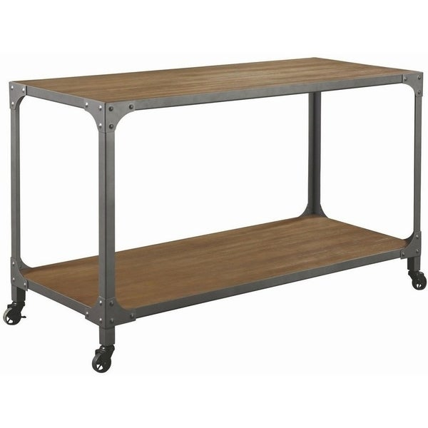 Wood And Metal Rolling Kitchen Island, Brown And Gray